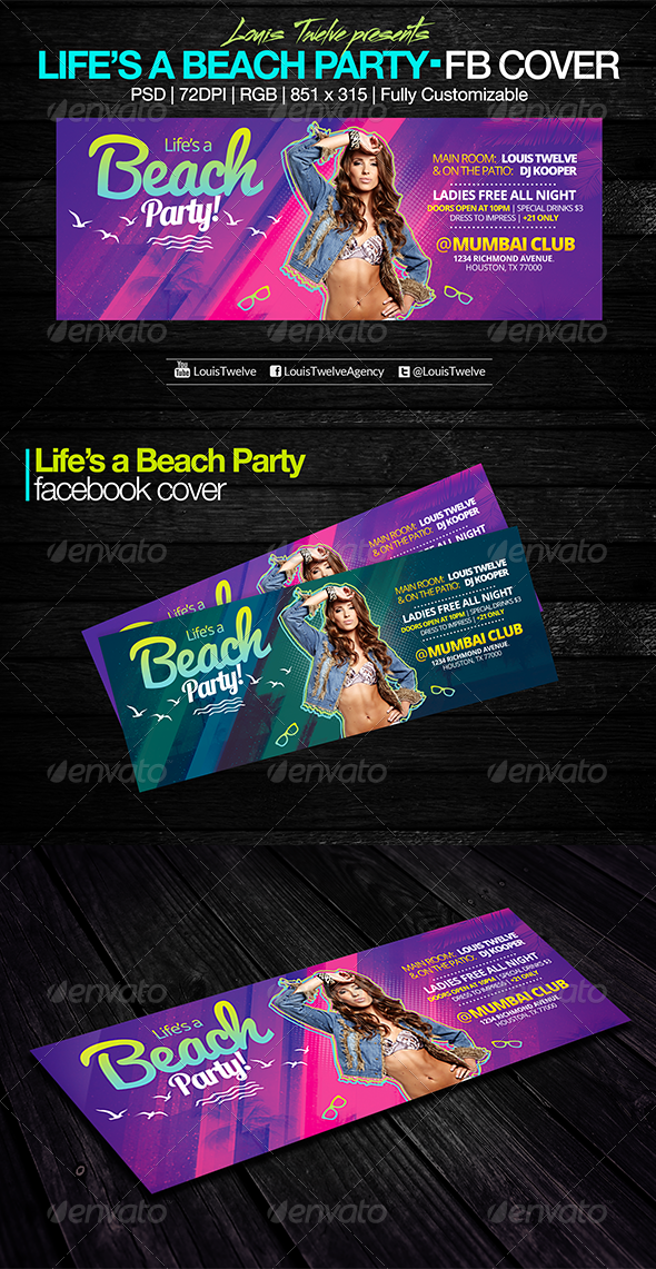 GraphicRiver Life is a Beach Party Facebook Cover 7752490