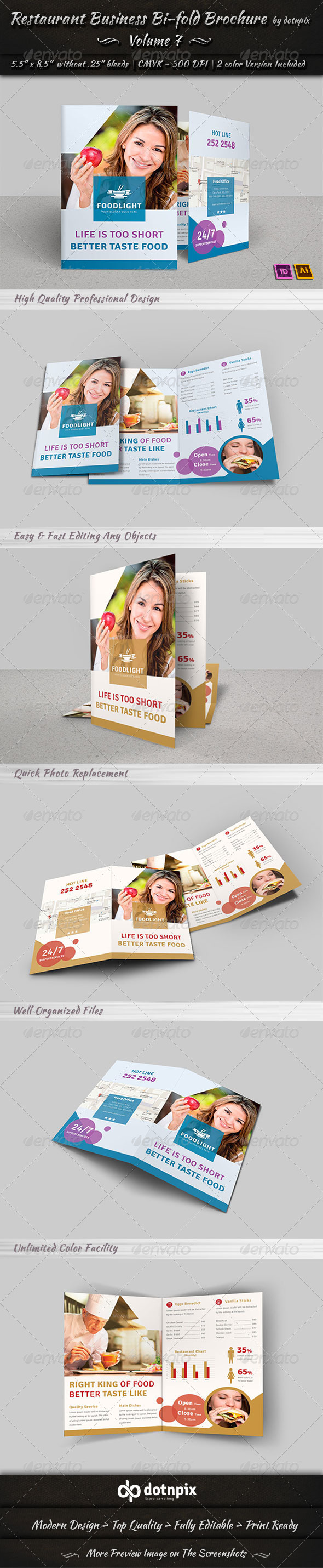 GraphicRiver Restaurant Business Bi-Fold Brochure Volume 7 7752639