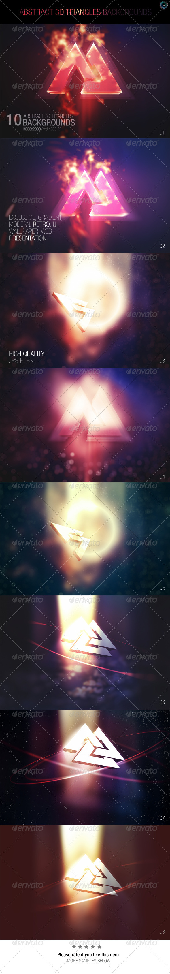 GraphicRiver Abstract 3D Triangles Backgrounds 7752664