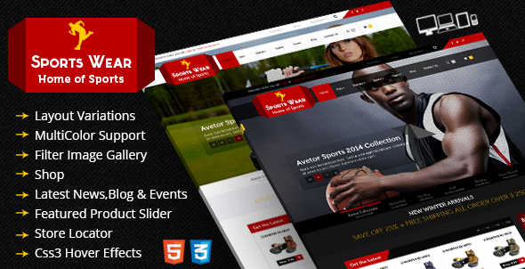 Sports Store Responsive Ecommerce HTML5 Theme - Retail Site Templates