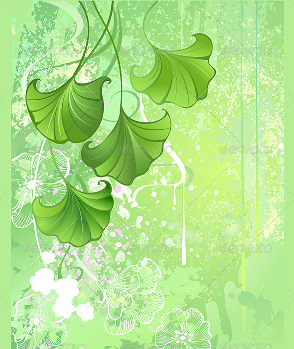 GraphicRiver Green Leafs Background 7753648
