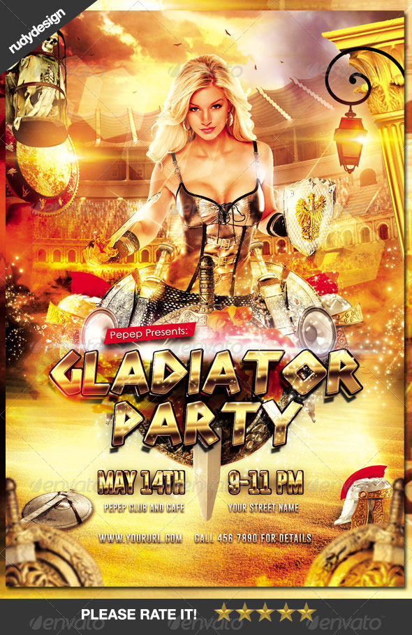GraphicRiver Gladiator Ancient Rome Greek Party Flyer 7754078