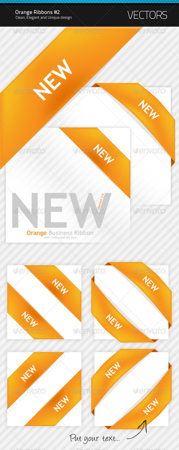 New Orange Ribbon #2 - Decorative Symbols Decorative