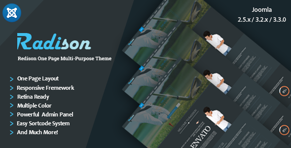 ThemeForest RadiSon Responsive One Page Joomla Template 7754214