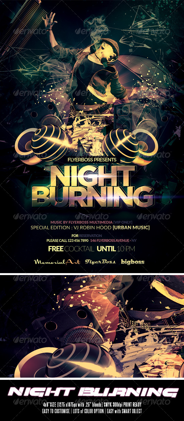 GraphicRiver Night Burning Flyer 7754234