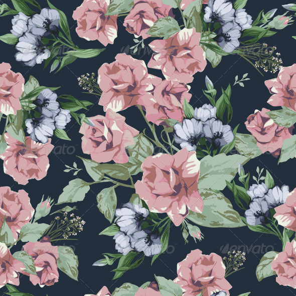 GraphicRiver Vector seamless floral pattern with roses 7716867