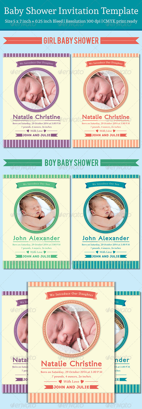 GraphicRiver Baby Announcement Template Vol.3 7717210