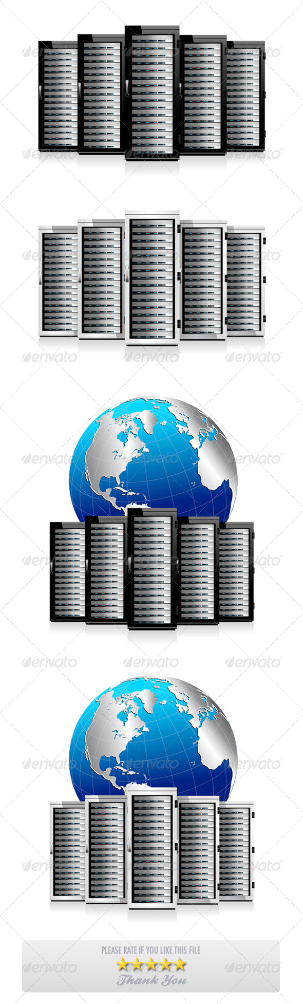 GraphicRiver Five Servers with World Globe 7754878