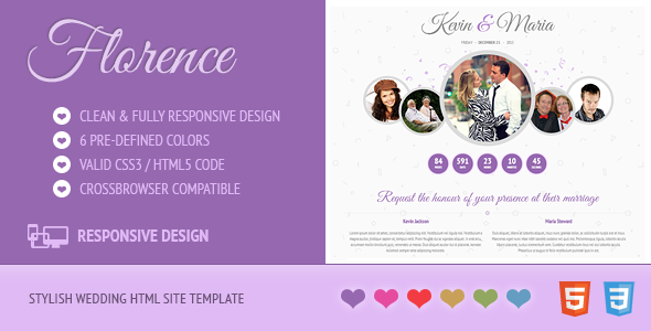 ThemeForest Florence Responsive Wedding Site Template 7755165