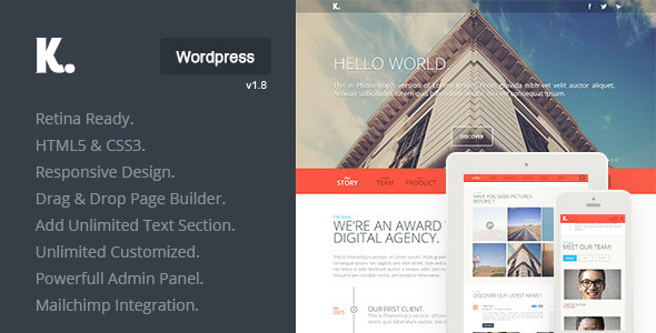 K. Responsive WordPress One Page  - Corporate WordPress