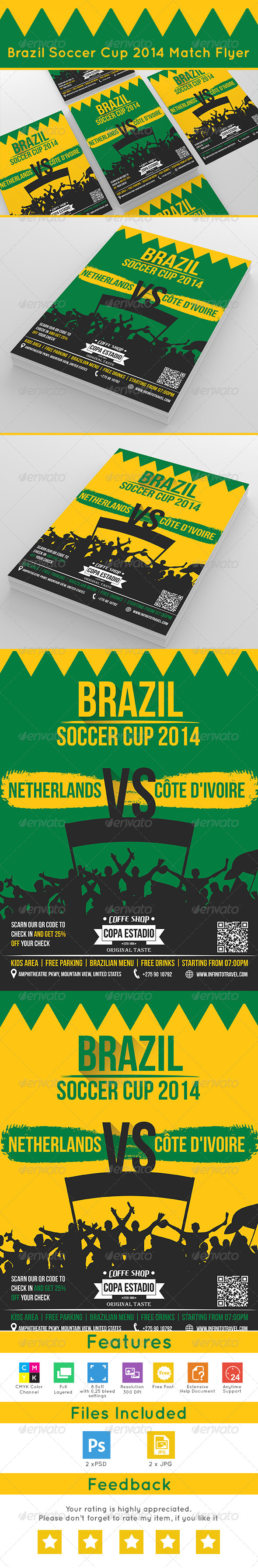 GraphicRiver Brazil Soccer Cup 2014 Match Flyer 7735247