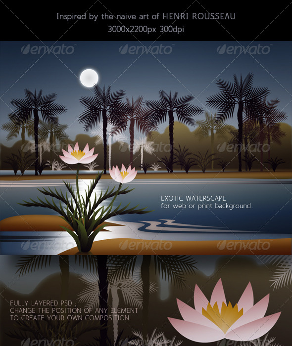 GraphicRiver Landscape with Water, Palm Trees & Full Moon 7755627