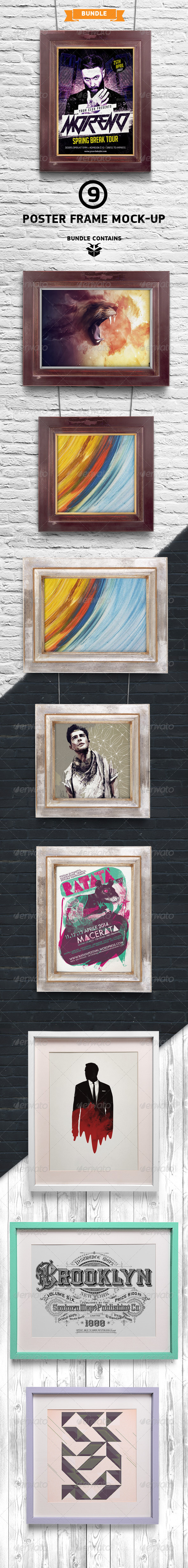 GraphicRiver Poster Picture Frame Mock-up Bundle 7755721