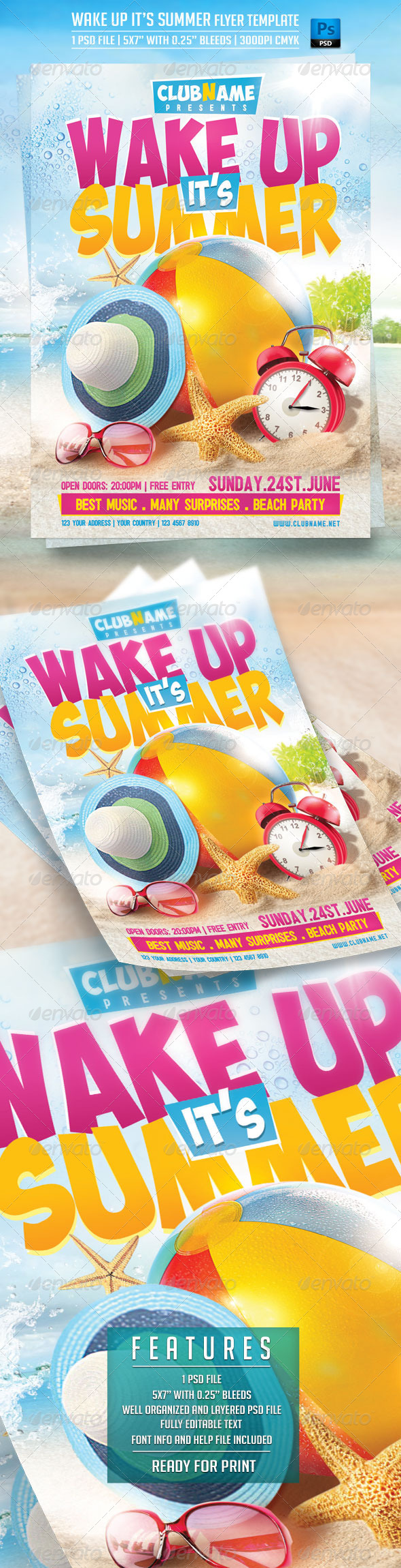 Wake up it's Summer Flyer Template