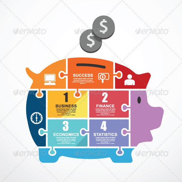GraphicRiver Infographic Template Piggy Bank Jigsaw Banner 7691968