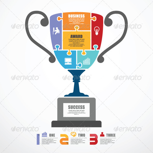GraphicRiver Infographic Template Trophy Jigsaw Banner 7691876