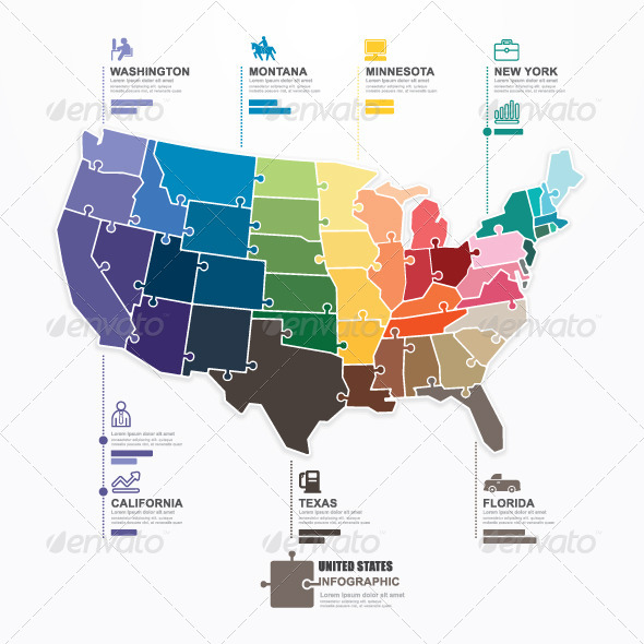 GraphicRiver US Map Infographic Template Jigsaw Concept 7685846