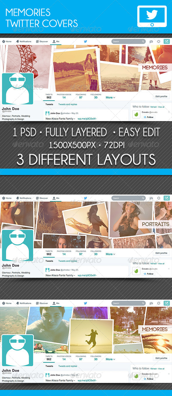 GraphicRiver Memories Twitter Covers 7759130