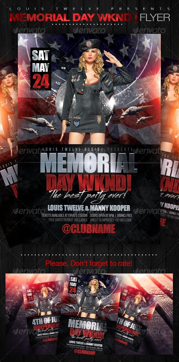 GraphicRiver Memorial Day Wknd Flyer Template 7759609