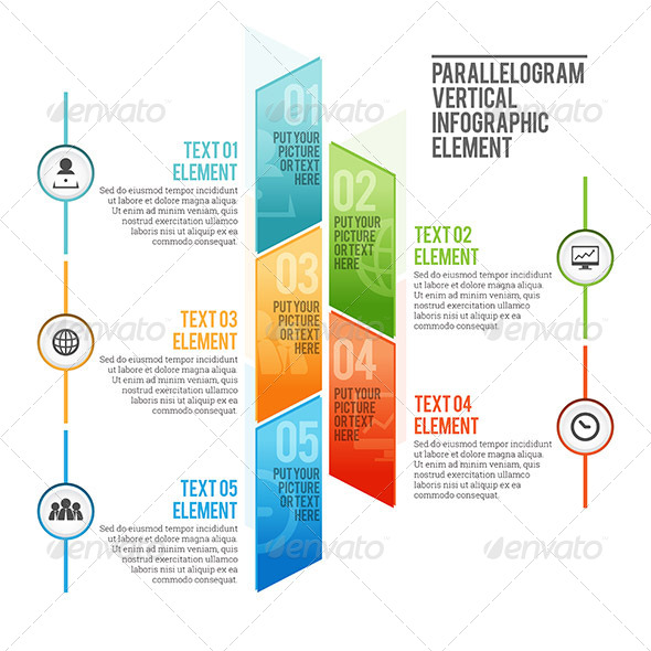 GraphicRiver Parallelogram Vertical Infographic Element 7760436