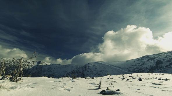 Snowy Mountain and Sun