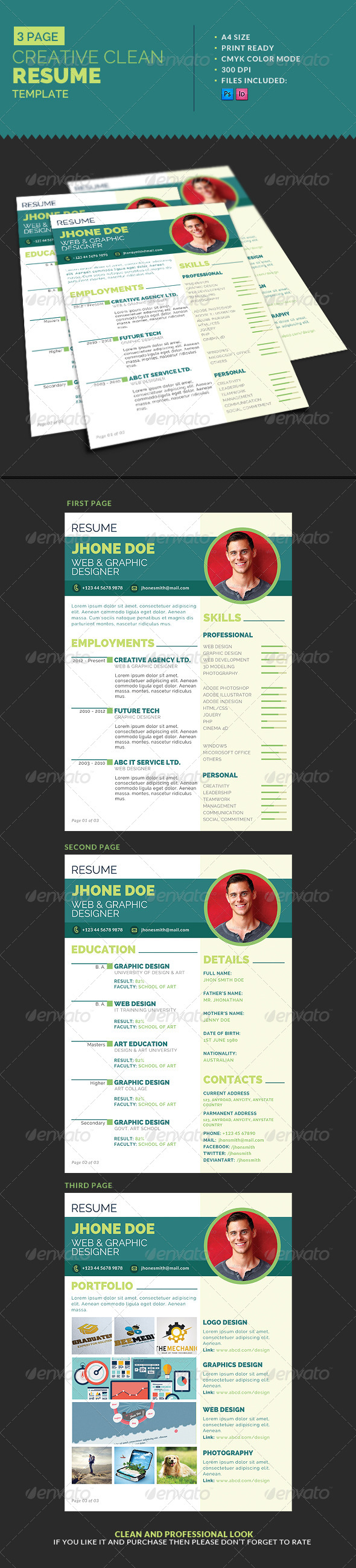 GraphicRiver 3-Page Creative Clean Resume Template 7760956