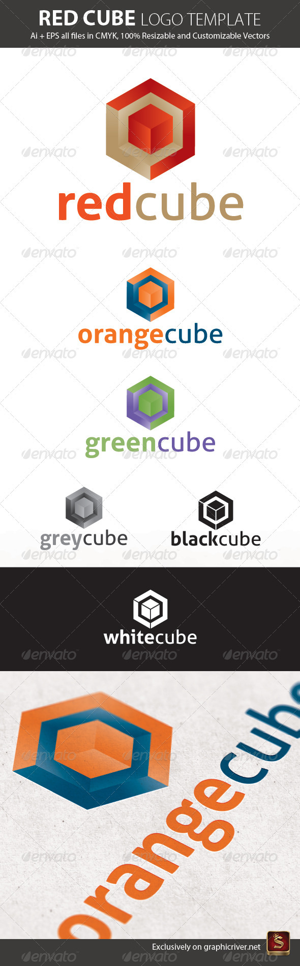 Red Cube Logo Template - Vector Abstract