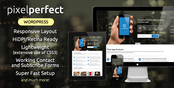 ThemeForest PixelPerfect Responsive Landing Page WP Theme 7497703
