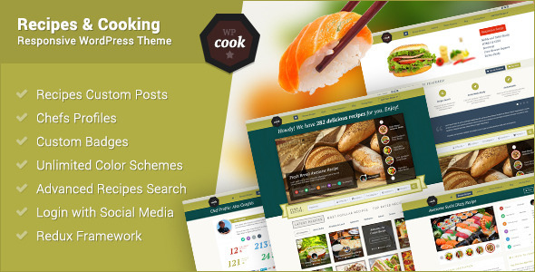 wpcook is probably the most advanced recipes and cooking responsive WordPress theme While developing it, we've first analyzed all the best practices and