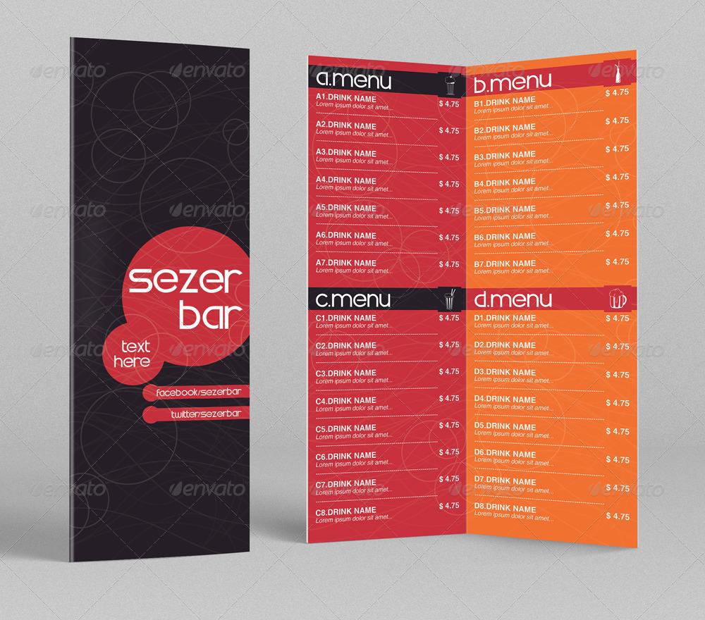 bi fold drink menu template 1 by erseldondar graphicriver