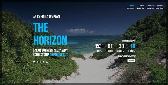 The Horizon || Responsive Coming Soon Page - Under Construction Specialty Pages