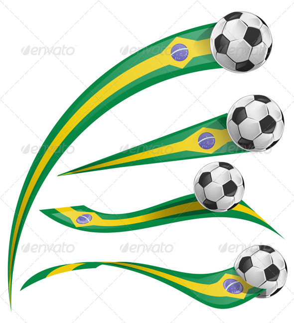 GraphicRiver brazil flag set with soccer ball 7740000