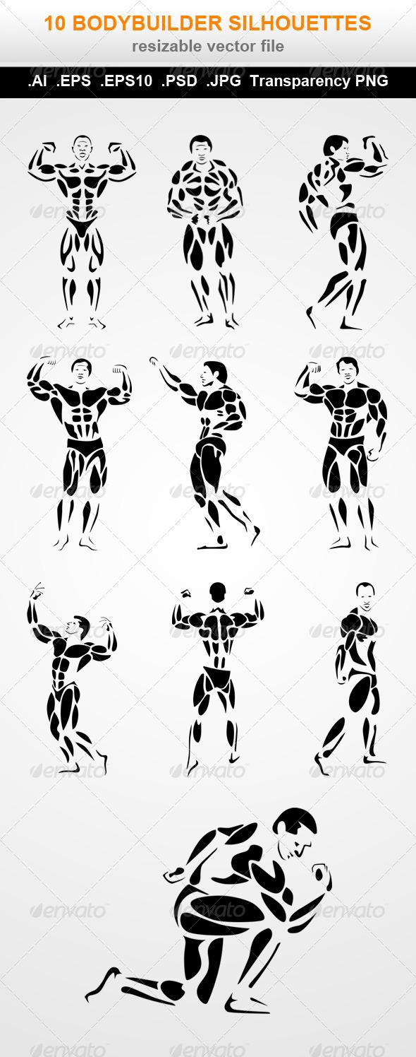 GraphicRiver 10 Bodybuilder Silhouettes 7762910