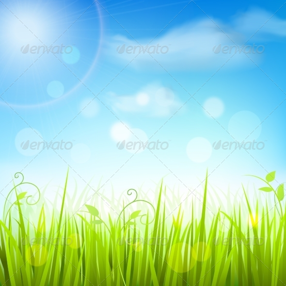GraphicRiver Spring Meadow Grass Blue Sky Poster 7763453