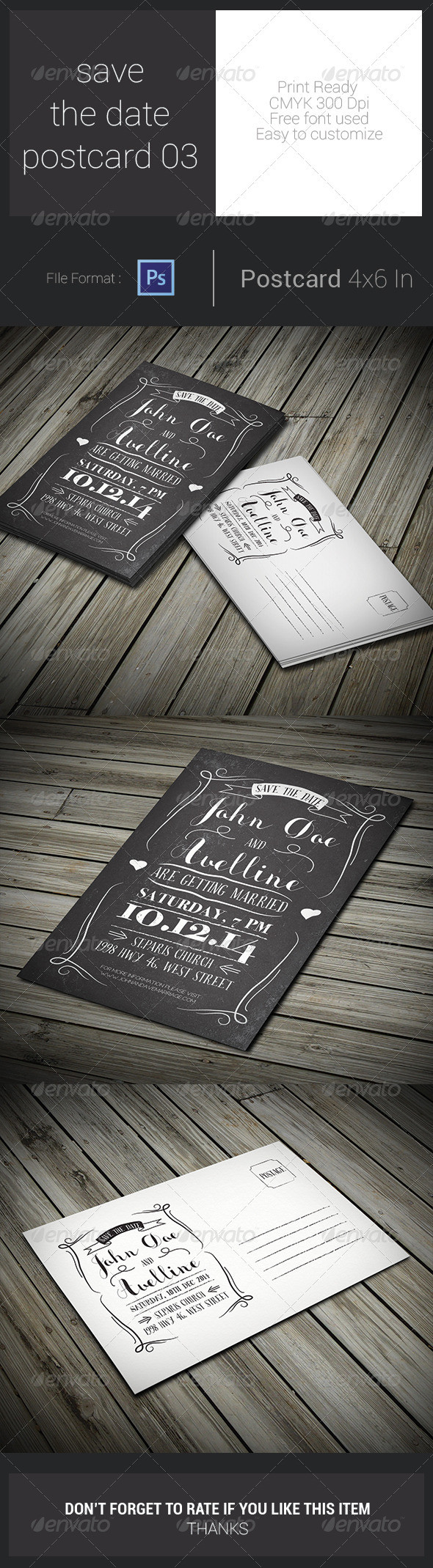 GraphicRiver Save The Date Postcard 03 7763510