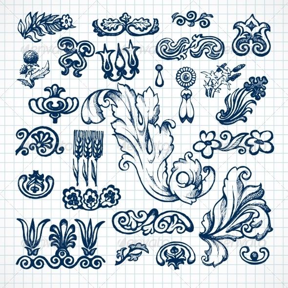 GraphicRiver Leaves Sketch Set 7763528
