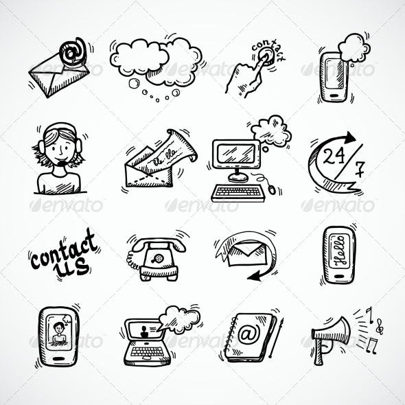 GraphicRiver Contact Us Icons Sketch 7763542
