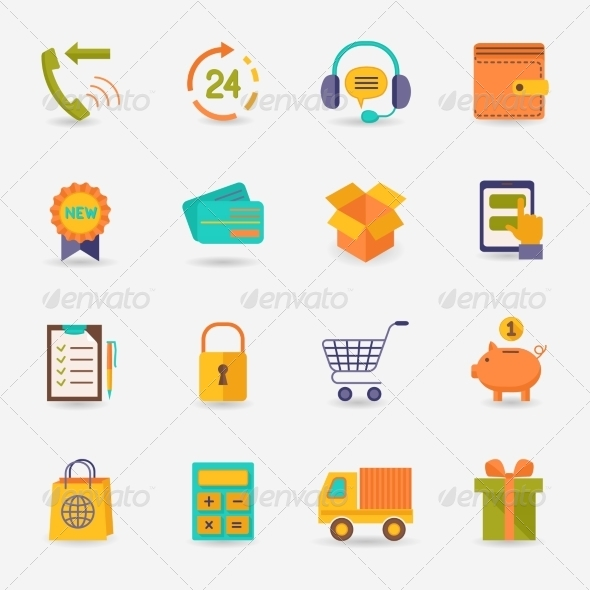 GraphicRiver Shopping E-commerce Icons 7763553
