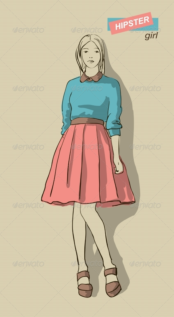 GraphicRiver Vector Illustration of Fashion Girls Hipsters 7763555