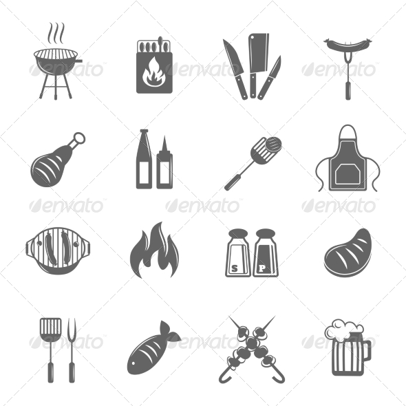 GraphicRiver BBQ Grill Icons Set 7763589