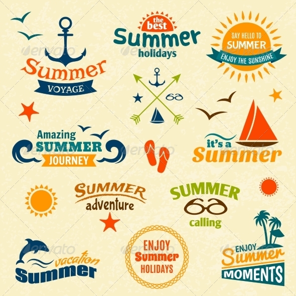 GraphicRiver Summer Element Label Set 7763593