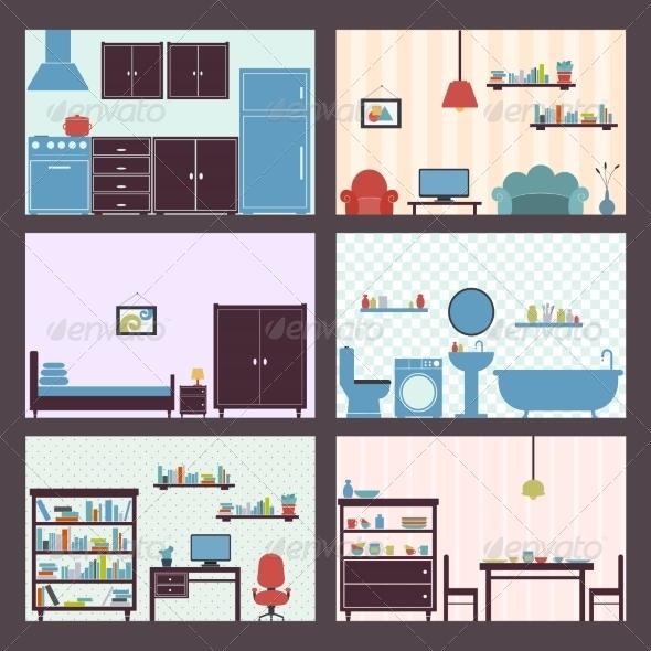 GraphicRiver Interiors Set Flat 7763616