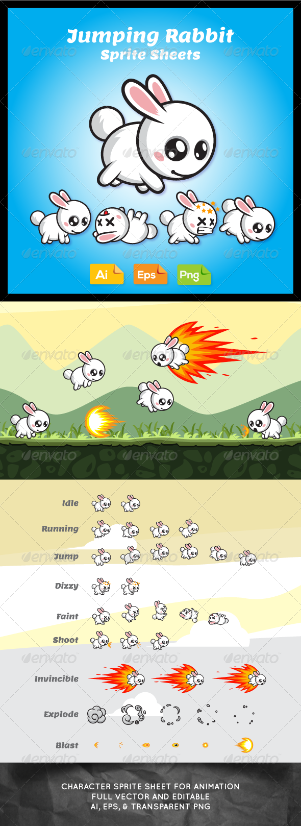 GraphicRiver Jumping Game Character Rabbit Sprite Sheet 7736464