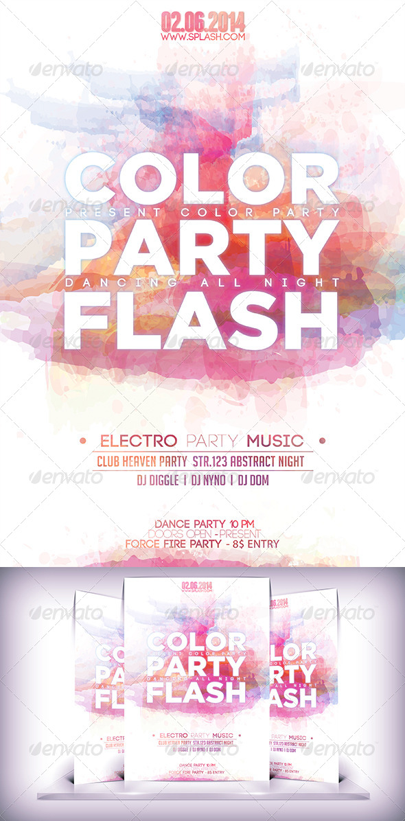 GraphicRiver Collor Flash Party Flyer 7764053