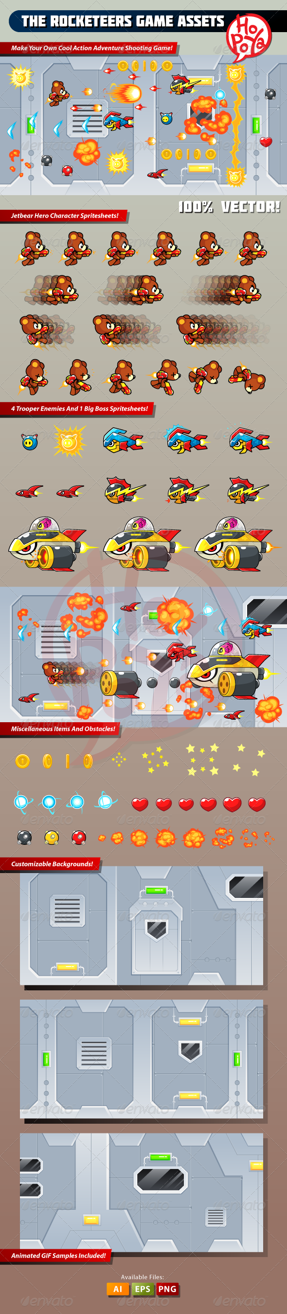 The Rocketeers Game Assets - Characters Vectors