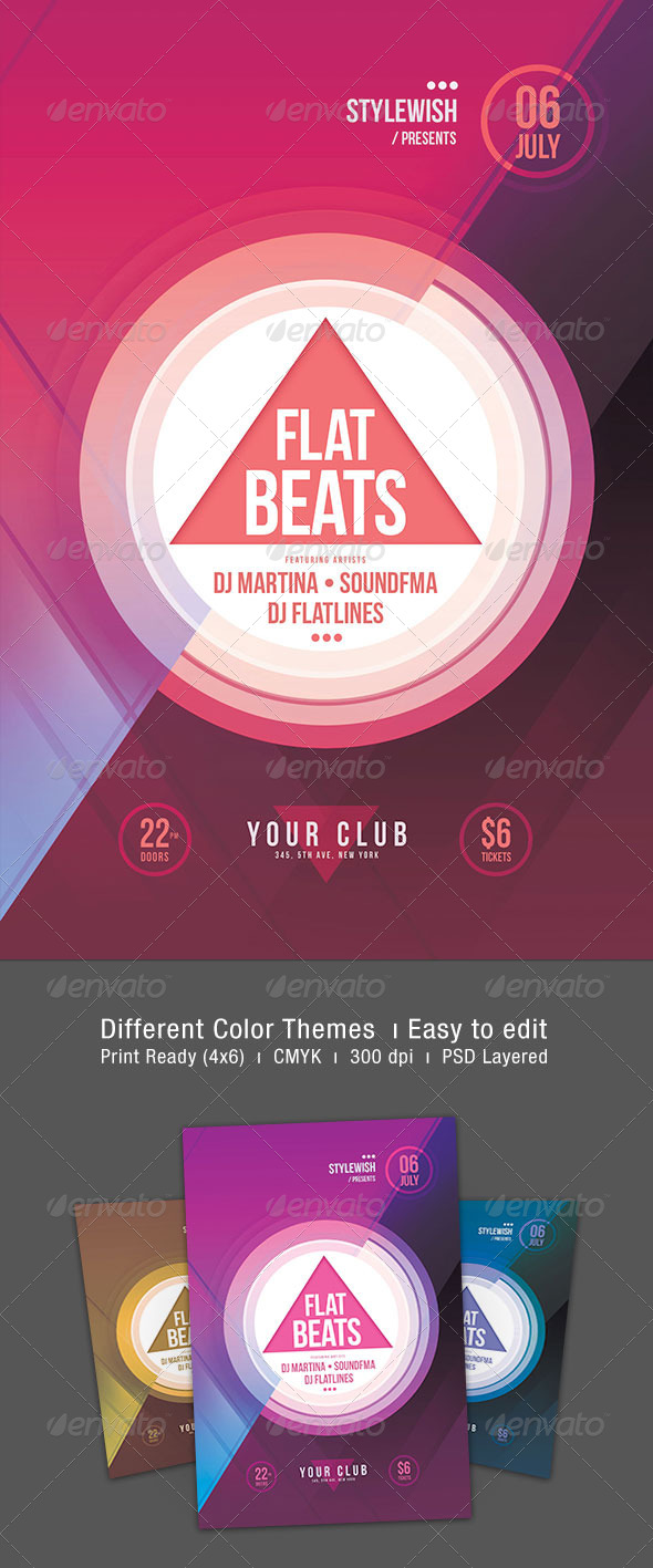 Flat Beats Flyer - Clubs & Parties Events
