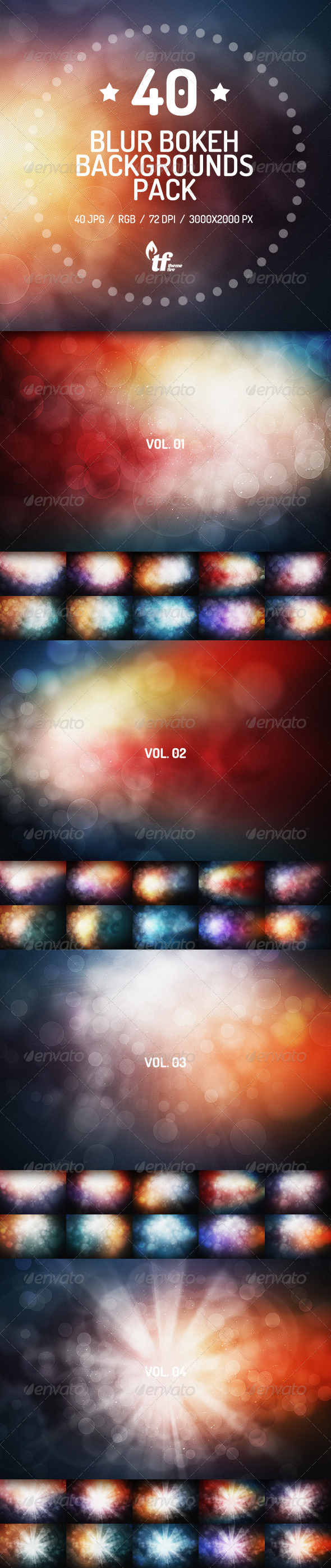 40 Color Blurred Bokeh Backgrounds Pack
