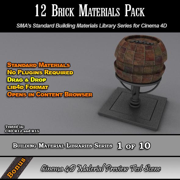 3DOcean 12 Standard Brick Materials Pack for Cinema 4D 7764204