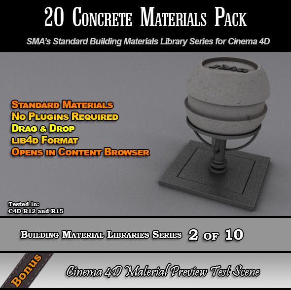 3DOcean 20 Standard Concrete Materials Pack for Cinema 4D 7764235