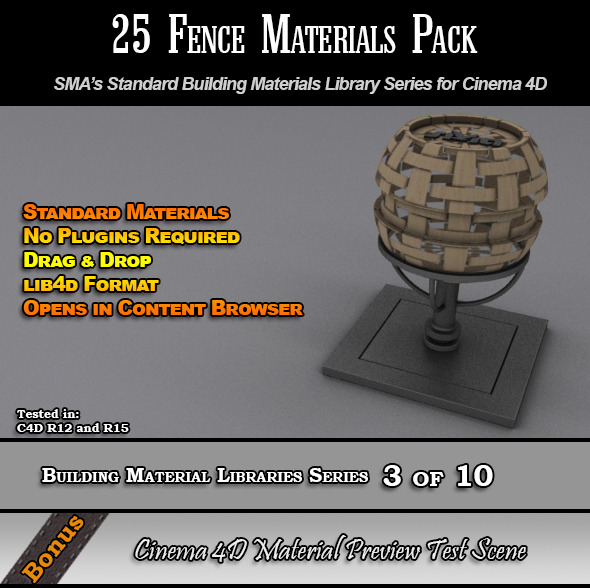 3DOcean 25 Standard Fences Materials Pack for Cinema 4D 7764281